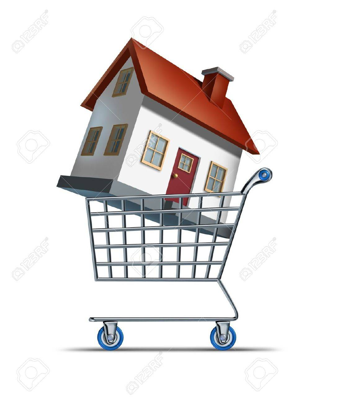 House shopping and buying homes as a real estate  market symbol with a shop cart and a three dimensional family residence representing the building and construction industry sales on a whte background Stock Photo - 13559403