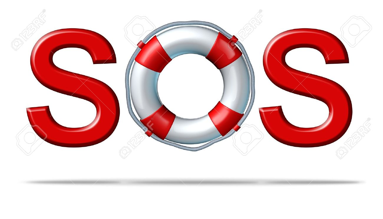 help sos symbol with a life preserver as the letter o representing