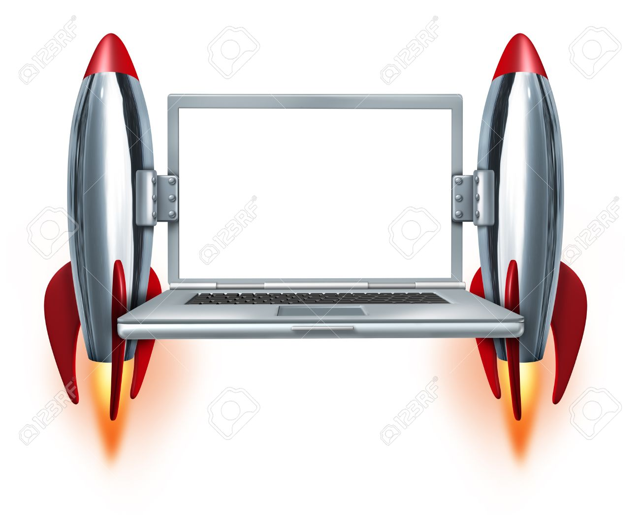 High speed internet technology symbol with a blank laptop and two rocket boosters blasting off as a concept of fast mobility computing and quick technical service on a white background Stock Photo - 13650239