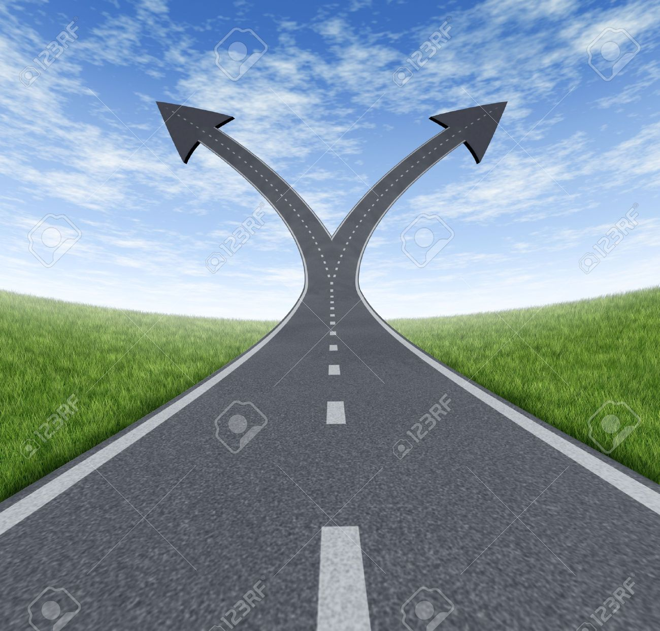 Success decision as a cross roads and upward growth streets in the shape of arrows showing a fork in the path representing the concept of direction when facing two equal or similar options Stock Photo - 13650269