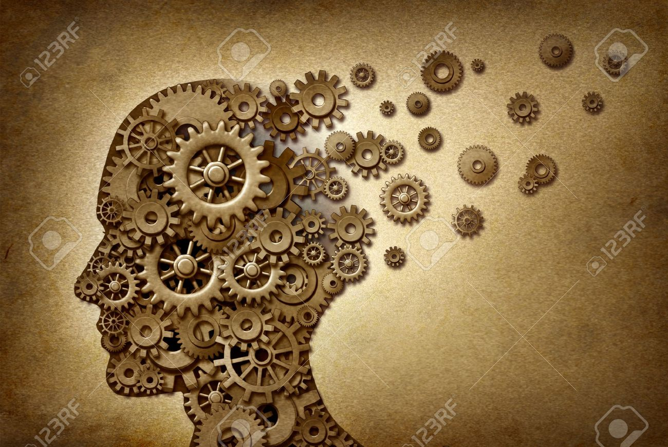 Dimentia brain problem medical  and health care concept symbol on a grunge parchment texture as a vintage document with gears and cogs as icons of medicine and human intelligence Stock Photo - 13838367