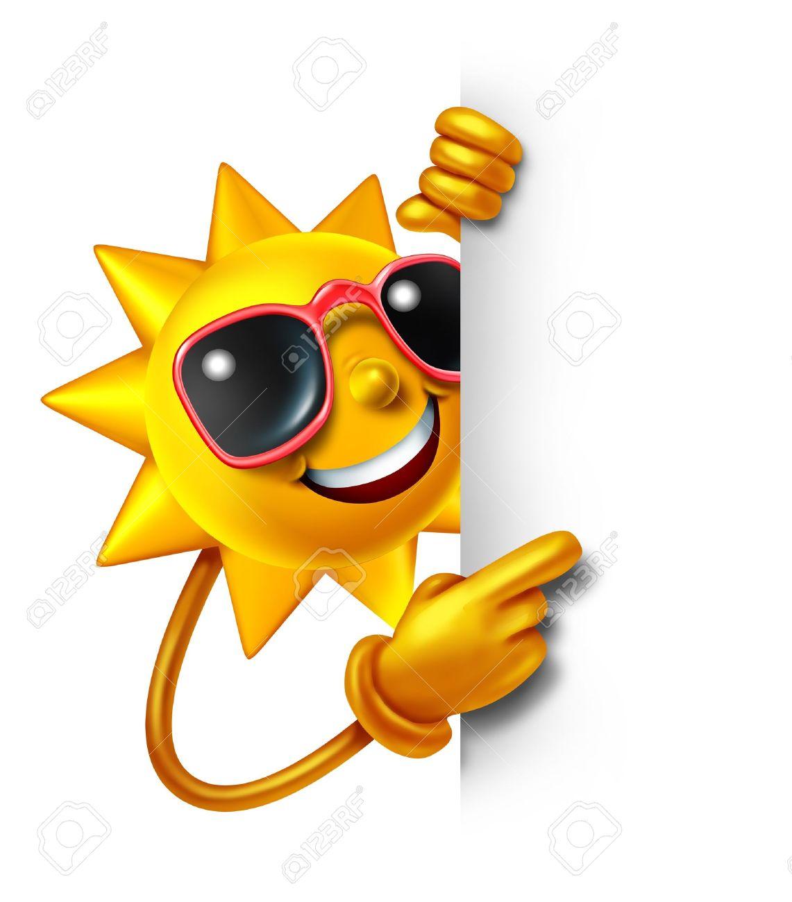 Sonne, Sommer, Spaß Als Dreidimensionales Cartoon-Figur, Die Eine ...