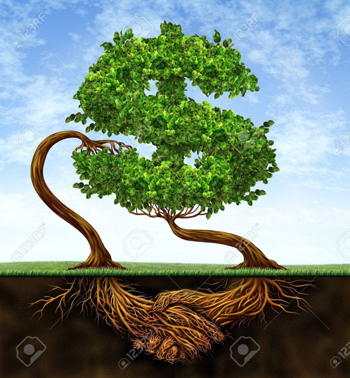 Financial growth agreement with two trees in the shape of a dollar sign and the roots in the form of hands shaking in partnership of a contract deal  for wealth success on a blue sky Stock Photo - 13876629
