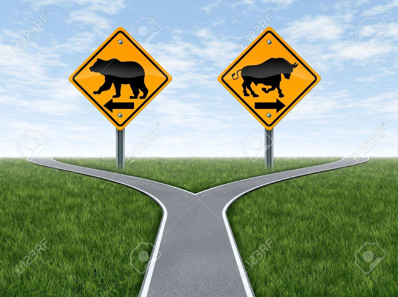 Stock market bull and bear representing the concepts of greed versus fear as a wall street financial crossroads challenge in a confused direction choice on a blue sky with summer landscape Stock Photo - 13876627