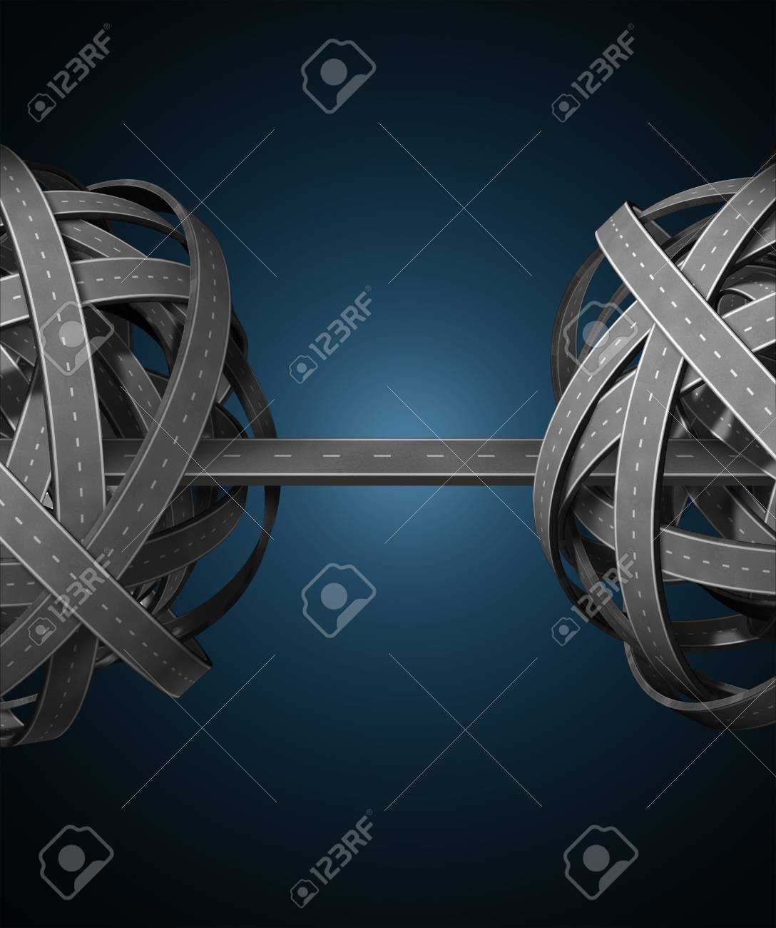 Network management with two confused tangled groups of highways and roads connected by a single path connecting the chaos and providing a simple successful business solution on black Stock Photo - 13876616