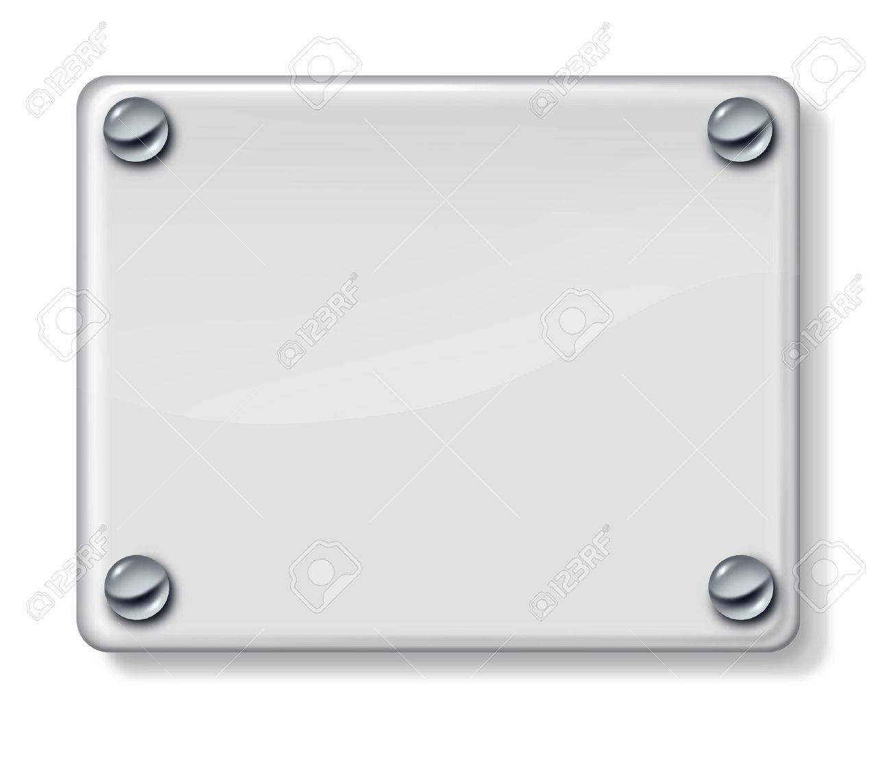 Shiny glass blank sign with chrome metal holders on a white wall background as a three dimensional plate for advertising or a promotional message Stock Photo - 13983363