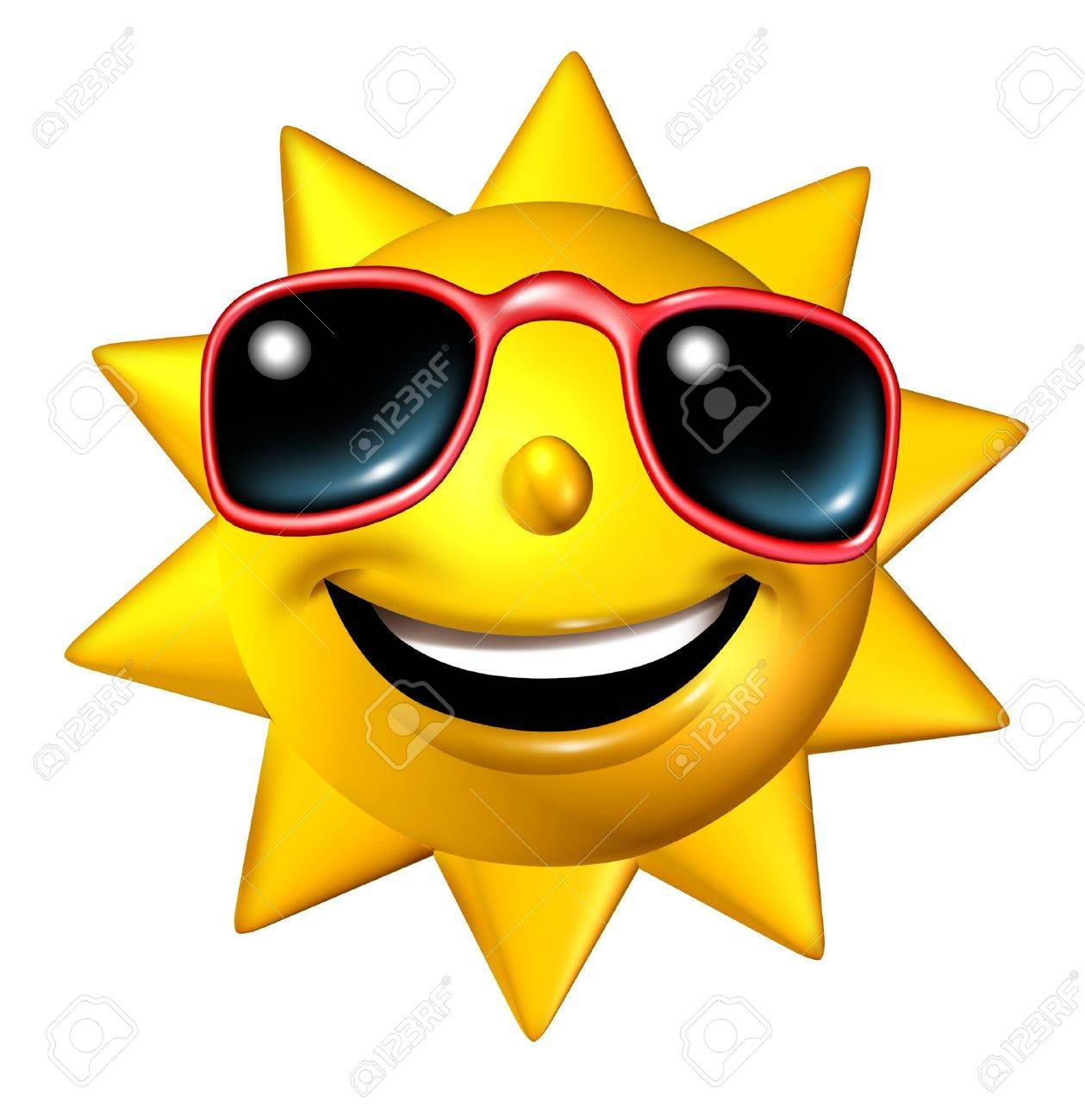 Happy Smiling Summer Sun Character With Sunglasses In A Frontal Stock Photo Picture And Royalty Free Image Image 13983367