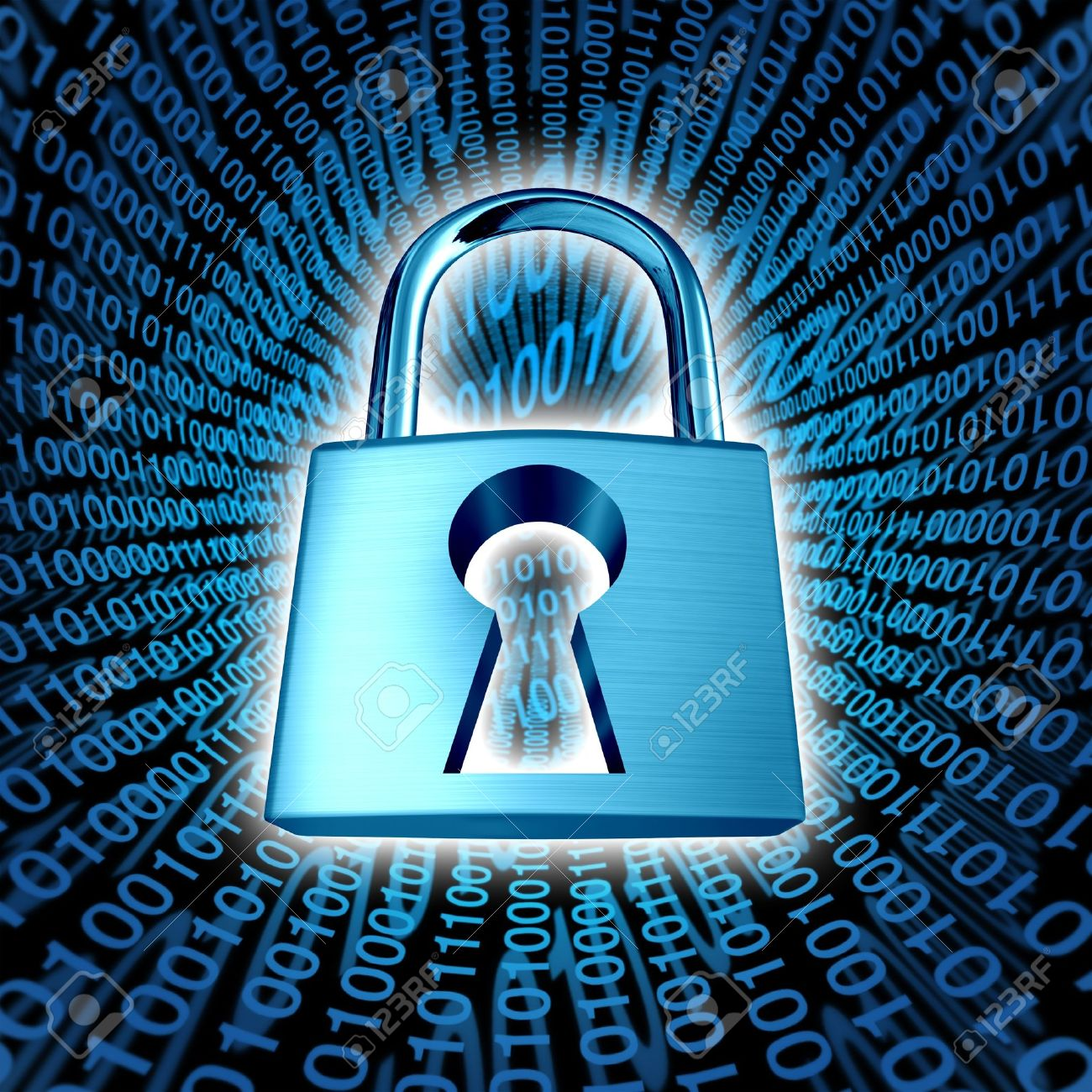 Data security and computer server network safety with a protection symbol of a lock with a keyhole on a binary code background as an icon of encryption and internet privacy technology in cyberspace Stock Photo - 13983375