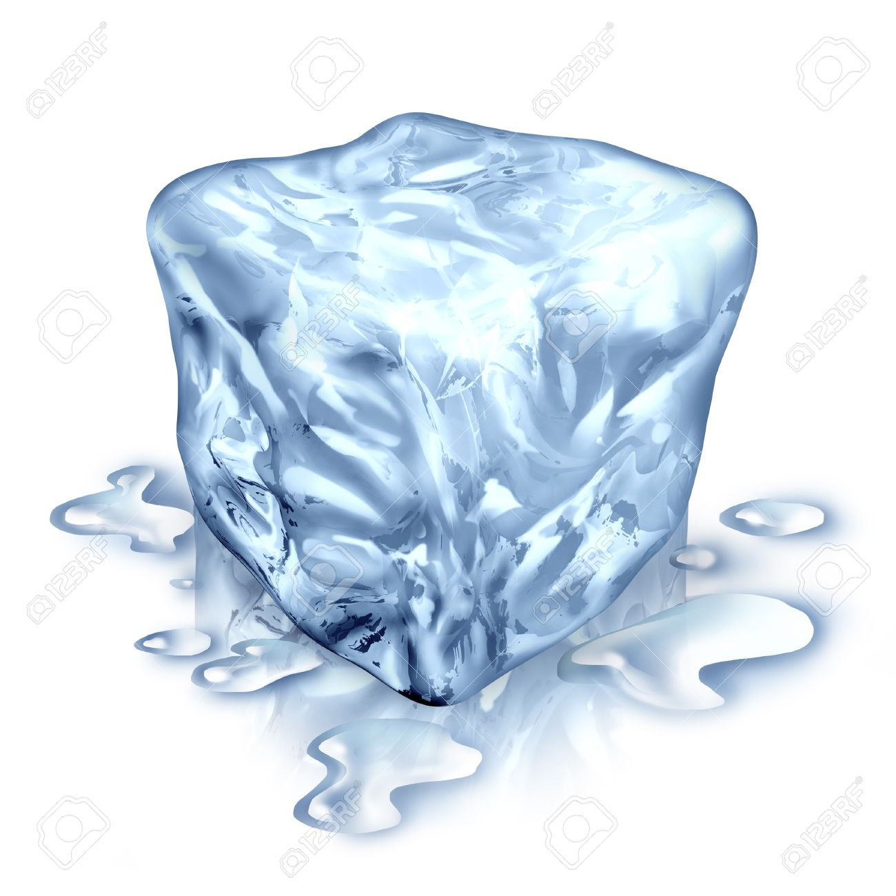 Ice Cube With Melting Water Drops On A White Background As Symbol Of Cool Refreshing