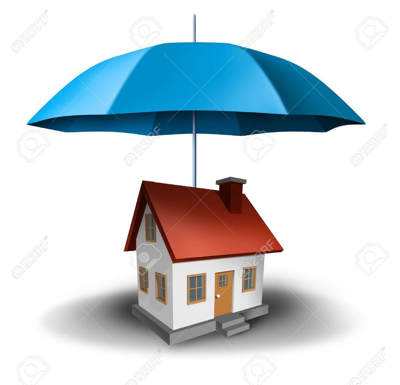 real estate safety with a house being protected with a secure blue umbrella as a symbol of residential security from mortgage payments or damage on a white background Stock Photo - 14119866