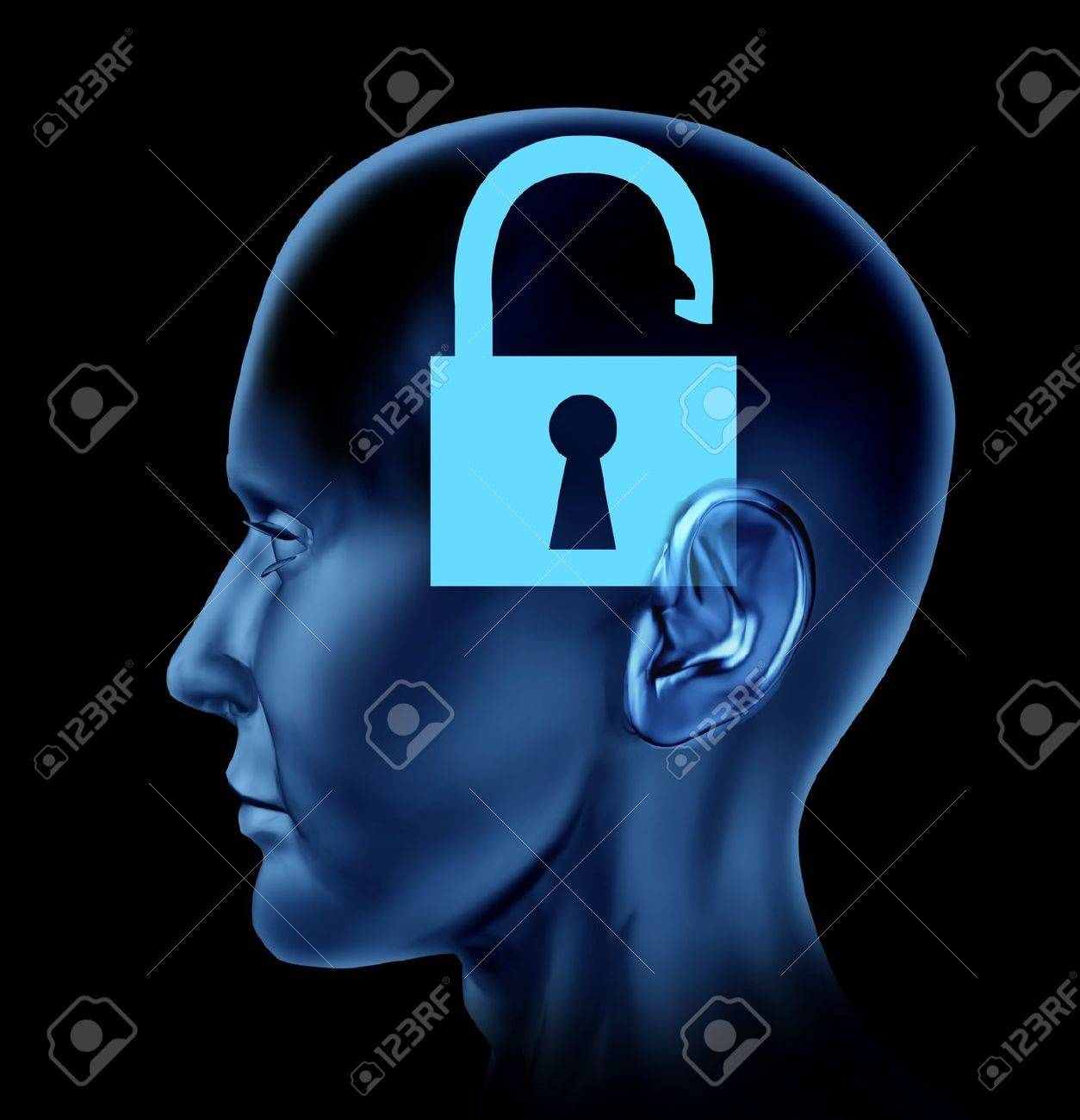 Open mind human brain as a symbol of opened new thinking representing creativity on a white background Stock Photo - 14119132