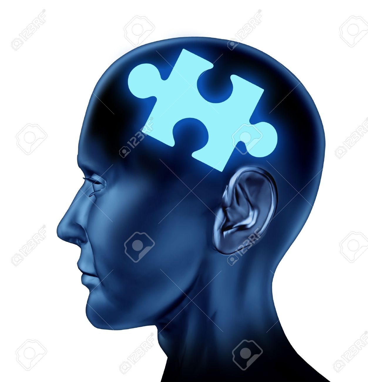 Puzzled brain representing solutions and creativity with a missing piece of the puzzle as a mental health icon isolated on a white background Stock Photo - 14119162