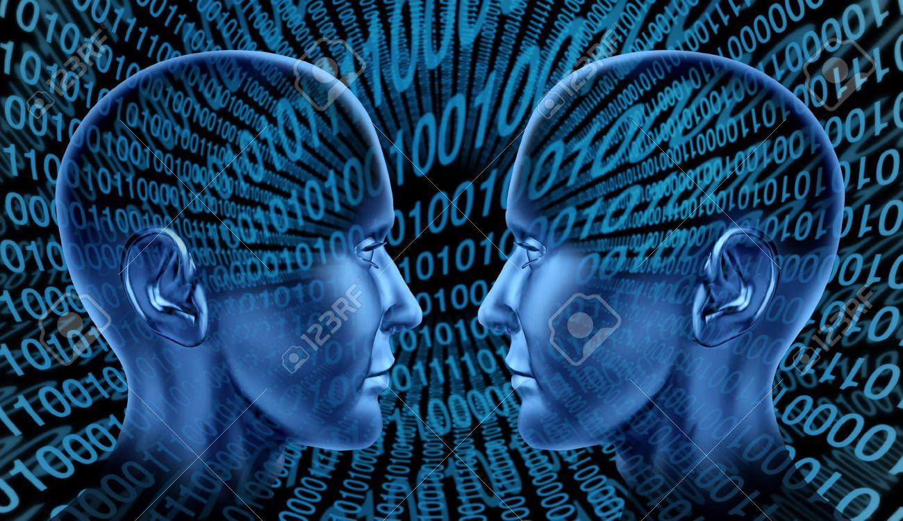 Digital exchange technology sharing binary code human head blue technological social internet innovation symbol of internet communication Stock Photo - 14119229