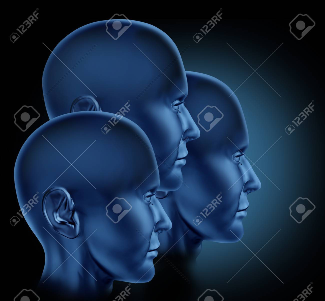 Leadership and teamwork business symbol represented by three human leadership and teamwork business symbol represented by three human heads looking towards strategic financial opportunity imagens biocorpaavc Choice Image