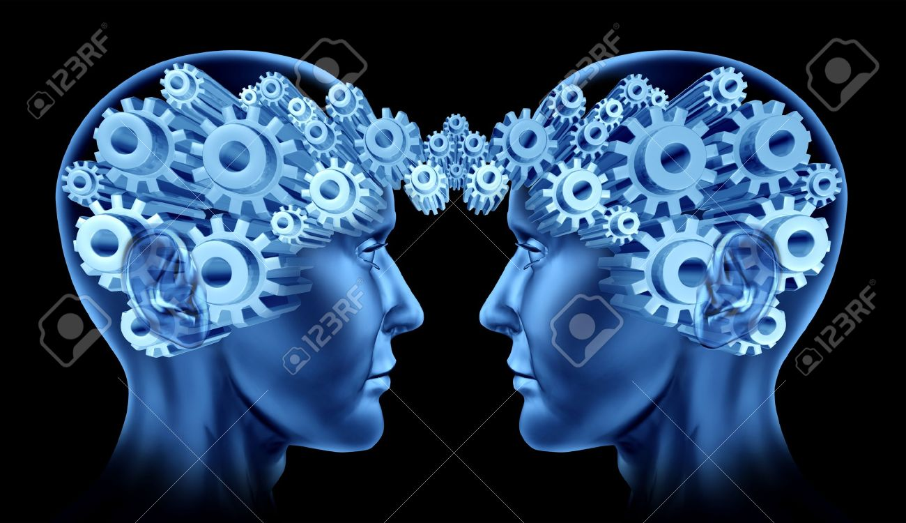 Teamwork and business cooperation with two human heads facing each other with gears and cogs representing their brains as a symbol of industry working together - 14119596