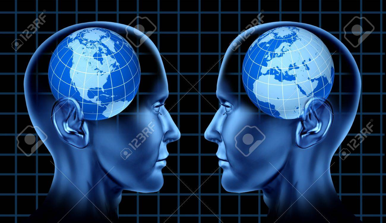 North America and European business trade with two human heads facing each other as partners and competitors in exporting and importing Stock Photo - 14119224