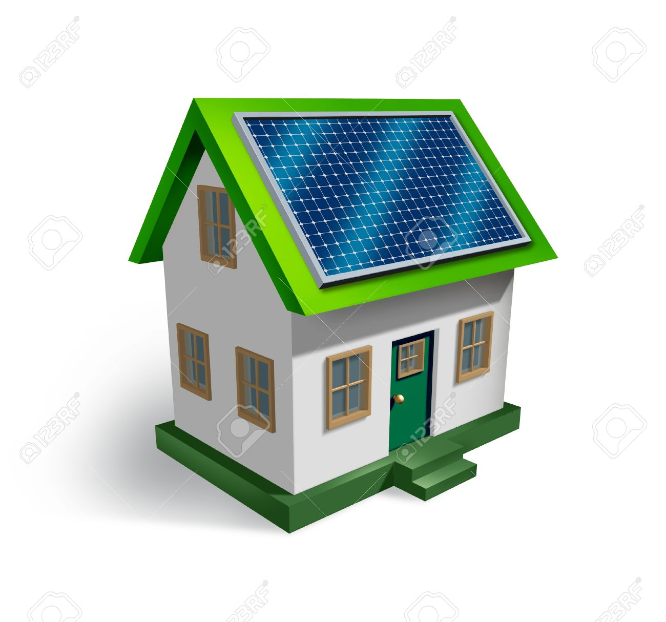 Solar energy house symbol on a white background as a residential icon of green renewable electricity from the sun being off the grid as money saving and ecological strategy Stock Photo - 14345361