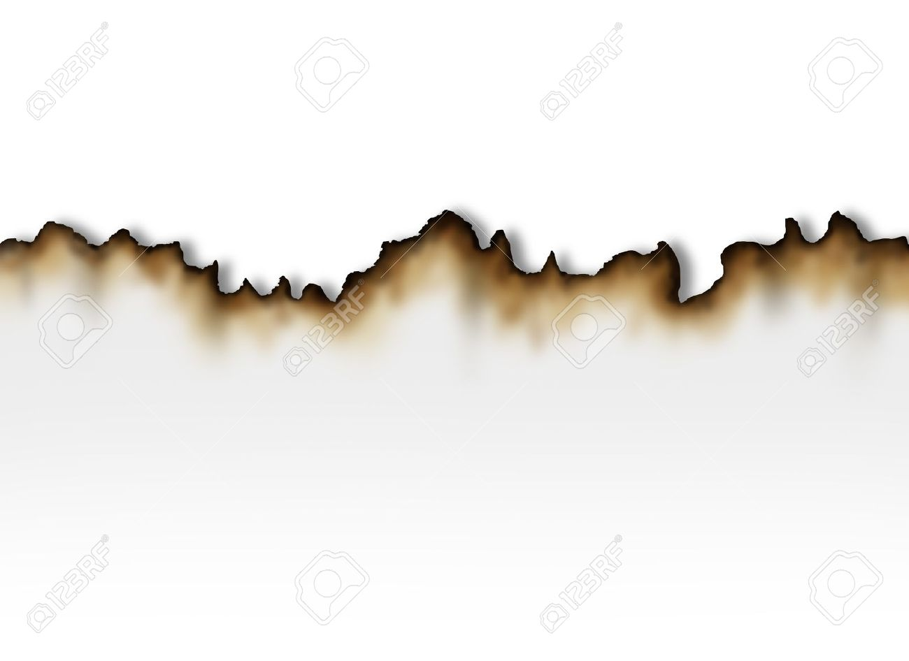 Burnt paper with a white blank background as a symbol of fire damage and insurance caused by arson or burning accident Stock Photo - 14571351