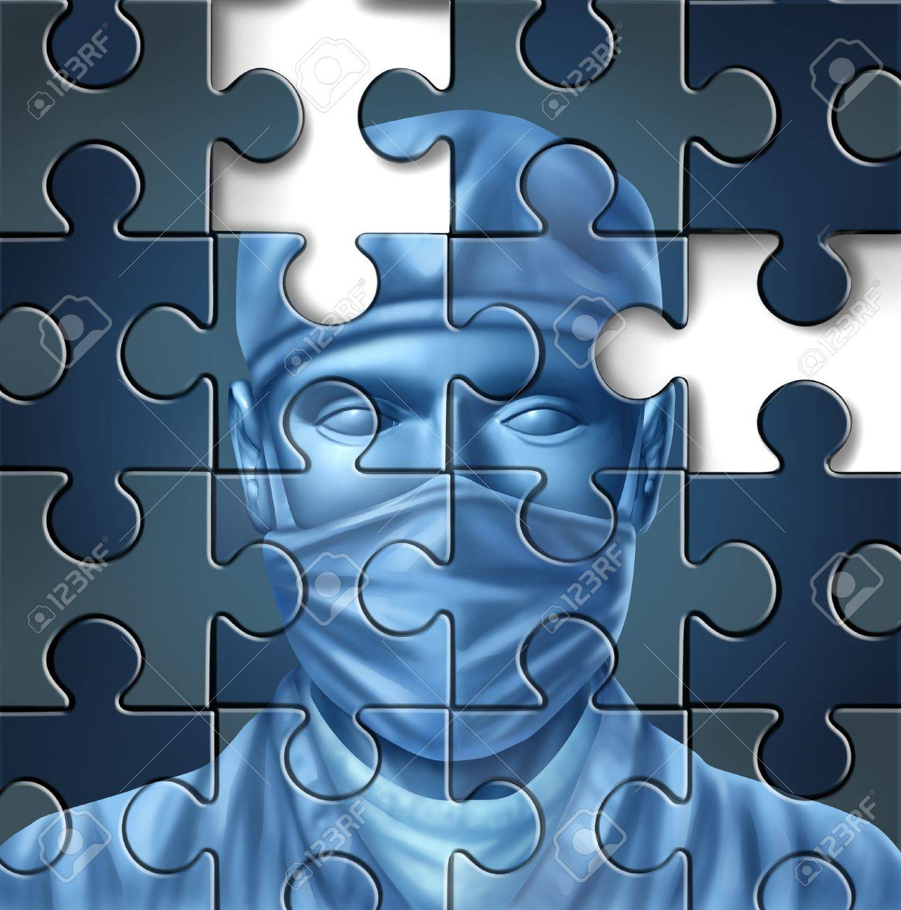 Medical care problems concept with a doctor and a surgeon mask symbol in a puzzle jigsaw texture with pieces missing as change to the status quo of the broken hospital service insurance that needs to be fixed Stock Photo - 14571373