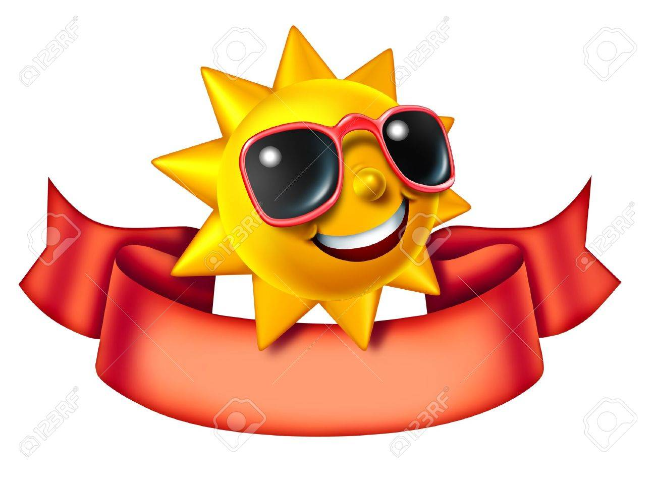 Sunny sun three dimensional cartoon character with a blank red banner as a hot summer symbol of heat and vacation advertisement or communication icon and relaxation isolated on a white background Stock Photo - 14571366