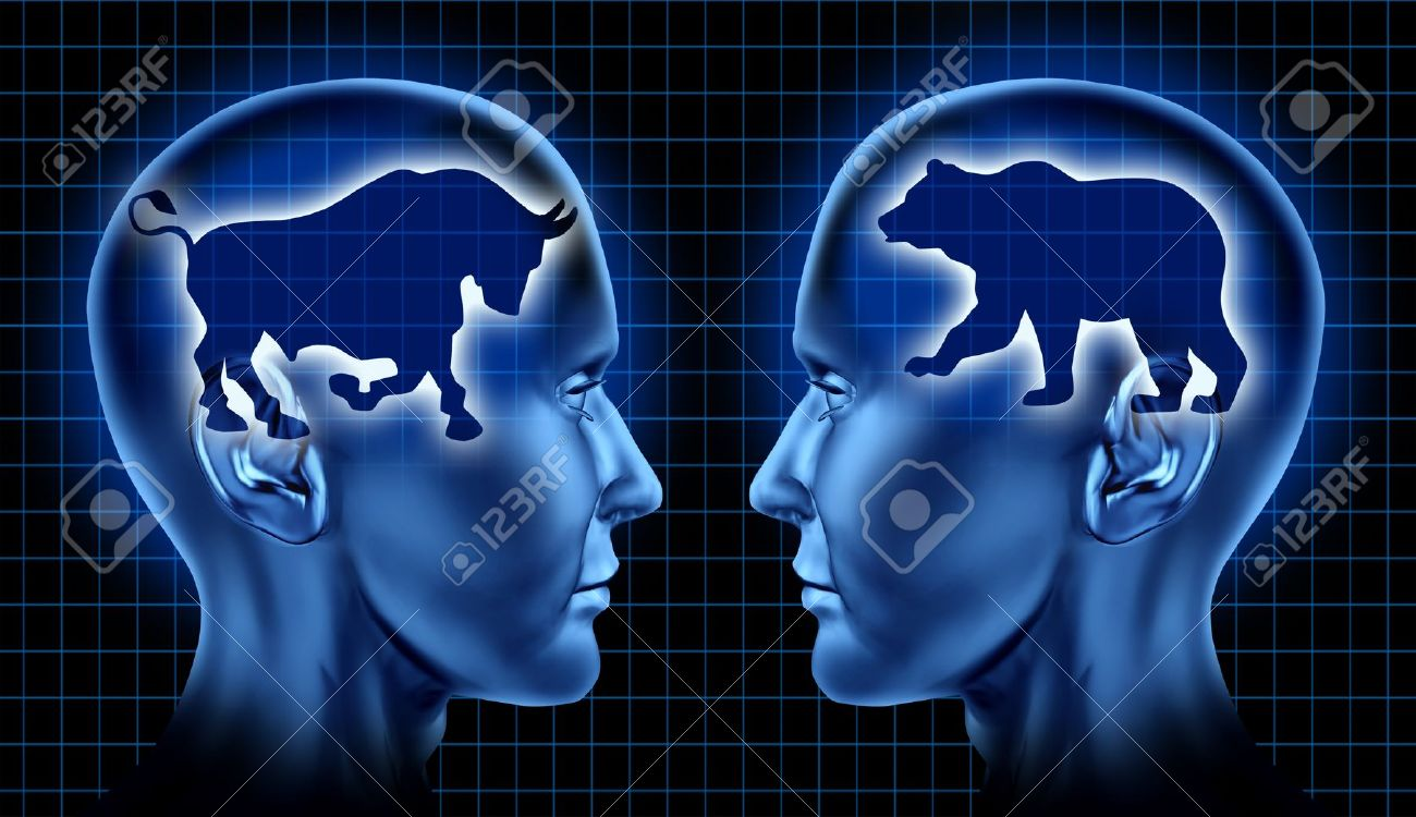 Stock market traders and investing financial symbol with two stock market traders and investing financial symbol with two businessmen representing the bear and bull markets buycottarizona