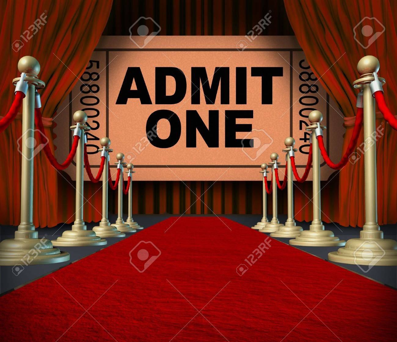 Velvet curtain club - Entertainment On The Red Carpet Theatrical Cinema Concept With An Admit One Movie Ticket Behind Red