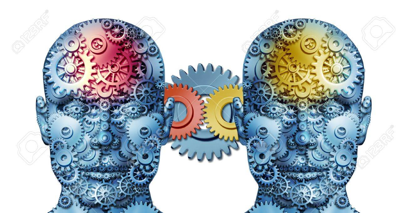 Business working relationship with two human heads sharing creative ideas made of gears and cogs representing business people in partnership cooperating together in unity for financial success on white Stock Photo - 15206257
