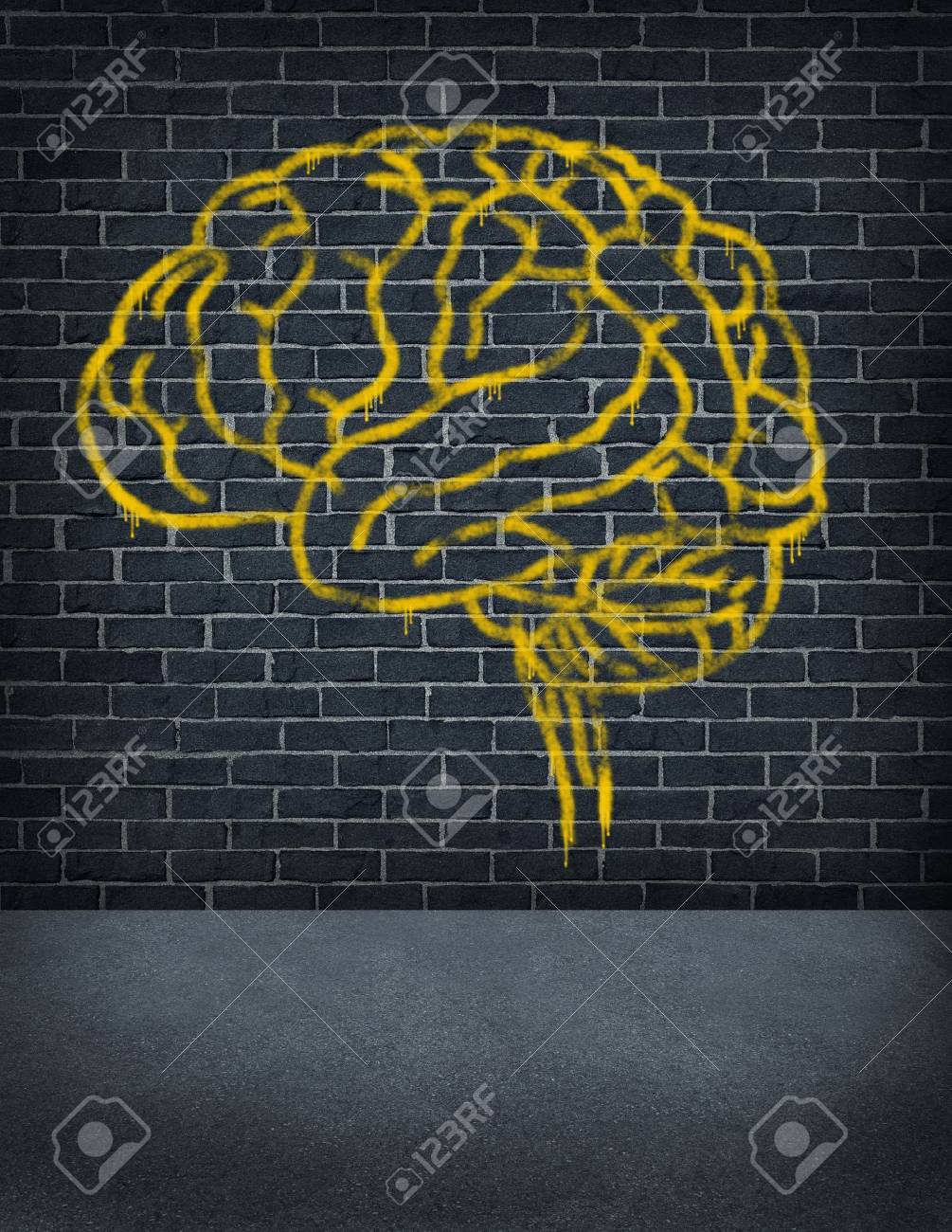 Criminal mind with a sprayed graffiti painting of a human brain on an old outdoor street brick wall as a health care and legal symbol of criminal behavior and problems in social behavior Stock Photo - 15206275