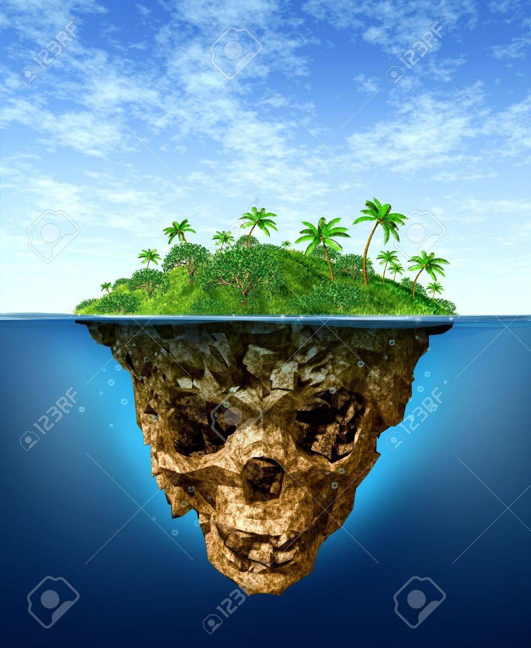 Riesgos Ocultos Y Concepto De Publicidad Falsa Con Una Hermosa Isla ...