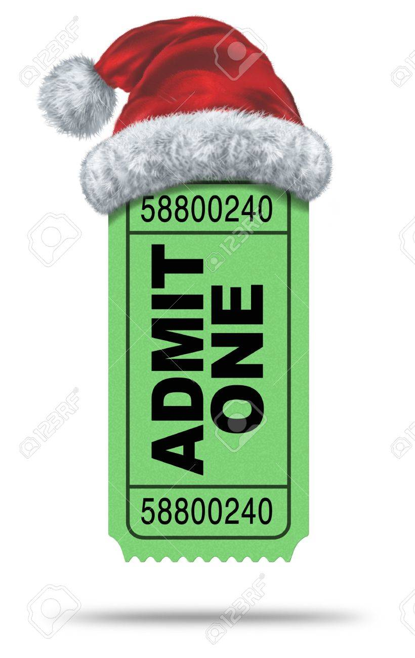 Holiday movies and Christmas movie flicks with a green admit one ticket stub and a santaclause hat as an entertainment symbol of the winter film industry cinematic releases on a white background Stock Photo - 15206279