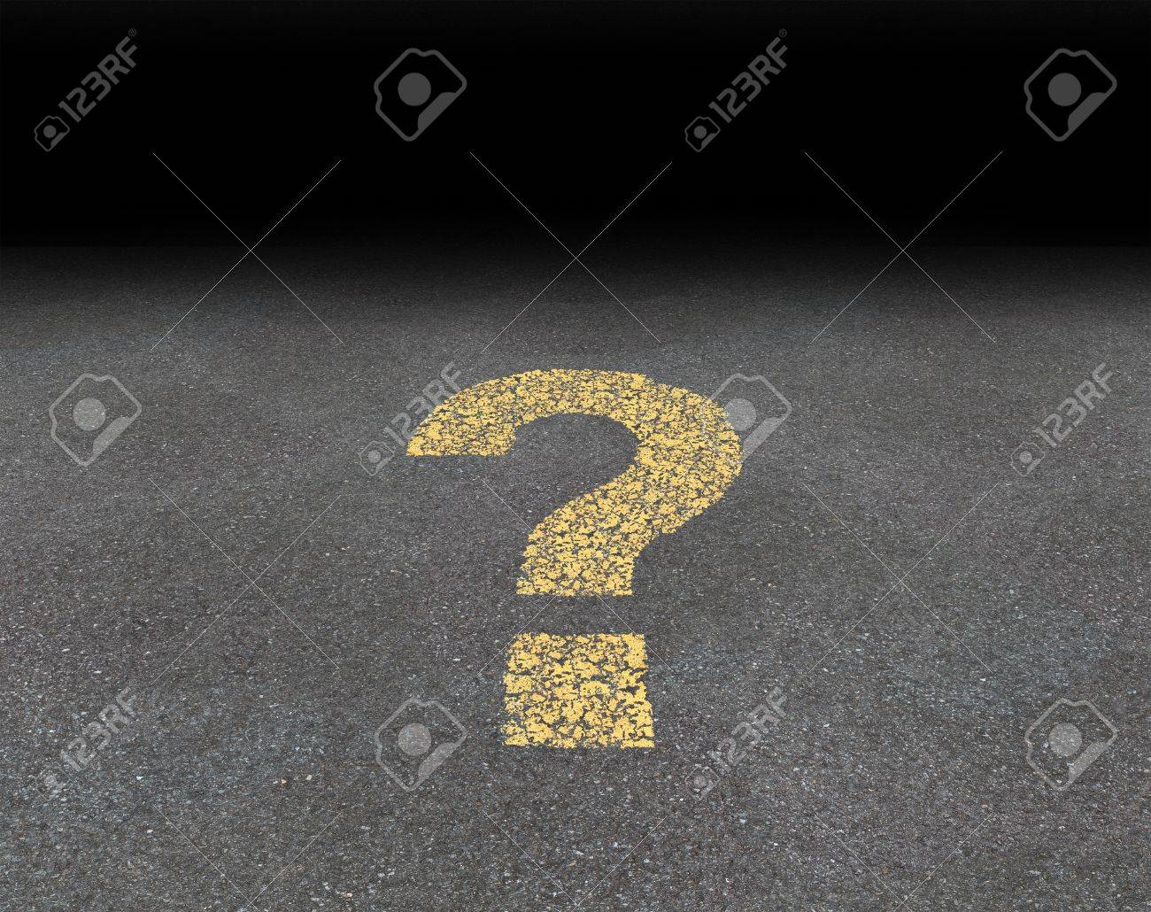 Question mark painted on an asphalt road as a symbol of strategy and decisions concept finding answers and solutions to confusing questions Stock Photo - 15154860