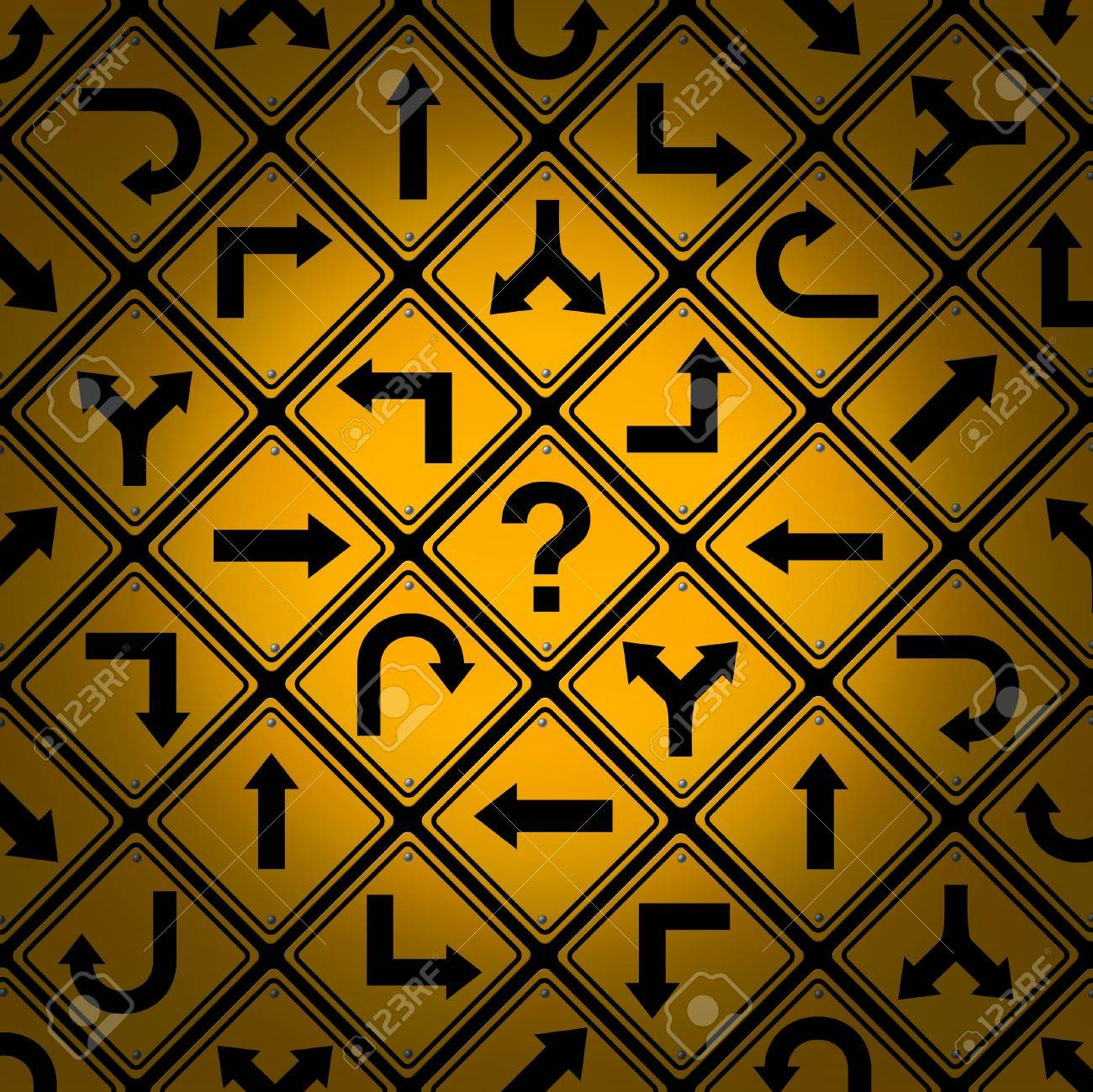 Choice and confusion as a strategy or path in a business or life management concept with confusing different yellow direction street signs pattern showing dilemma questions looking for solutions for success Stock Photo - 15501004