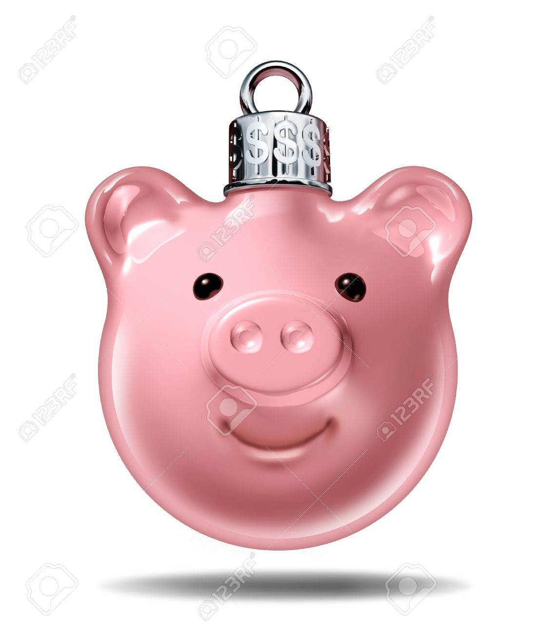Christmas budget and holiday savings specials symbol with a piggy bank in the shape of a decorative  pine tree ball with silver top with dollar signs embossed as an icon of spending for gifts and prices in the gift giving season Stock Photo - 15418054