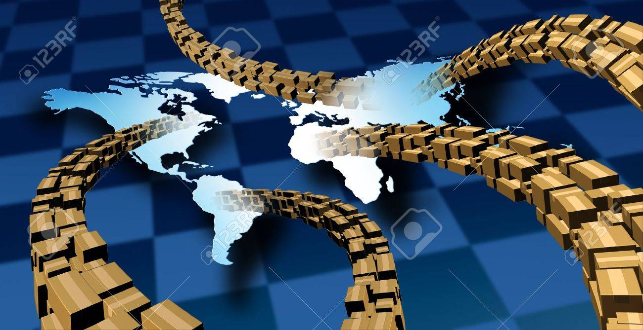 International package delivery and world parcel shipping with a group of cardboard boxes flying in the air to a vanishing  to a map of the planet earth as a symbol of fast service Stock Photo - 15584411
