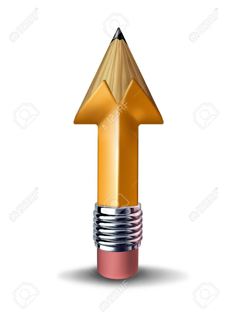 Education growth and training development for a successful career as a yellow pencil in the shape of an arrow going up on a white background Stock Photo - 15725765