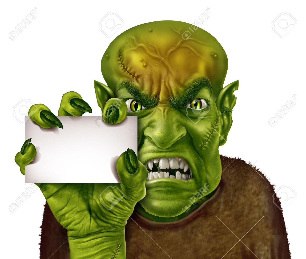 Monster holding a blank white sign with a zombie or greedy man with a creepy hand holding an ad card as a spooky halloween or scary symbol with textured green skin wrinkled creepy fingers and stitches isolated on white Stock Photo - 15739380