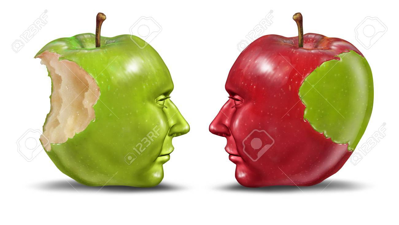 green and red apples. teaching a student education concept with green and red apples shaped as human heads exchanging knowledge