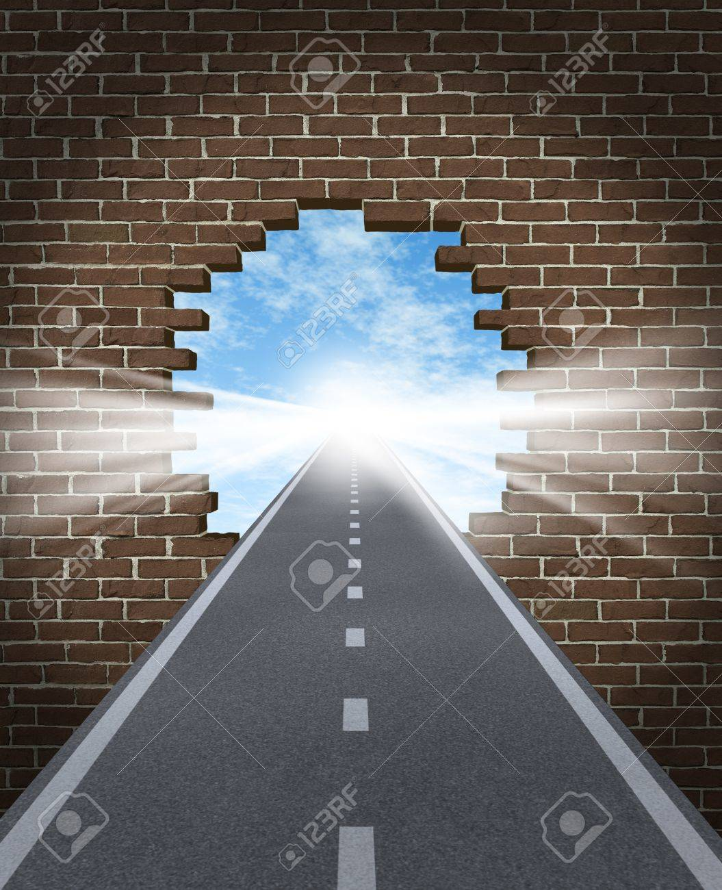 Break through to opportunity concept with a highway going through a broken brick wall to a shinning light of success on a sky background as a business icon and a symbol for a new life vision, Stock Photo - 15845982