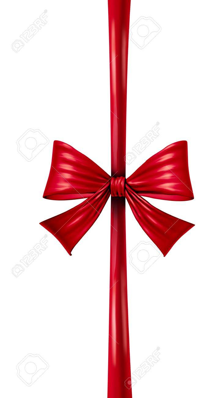 Red silk ribbon and bow in a vertical composition as a seasonal decoration for gift giving during a celebration as Christmas birthdays and anniversaries or valentine day on a white background Stock Photo - 15845964