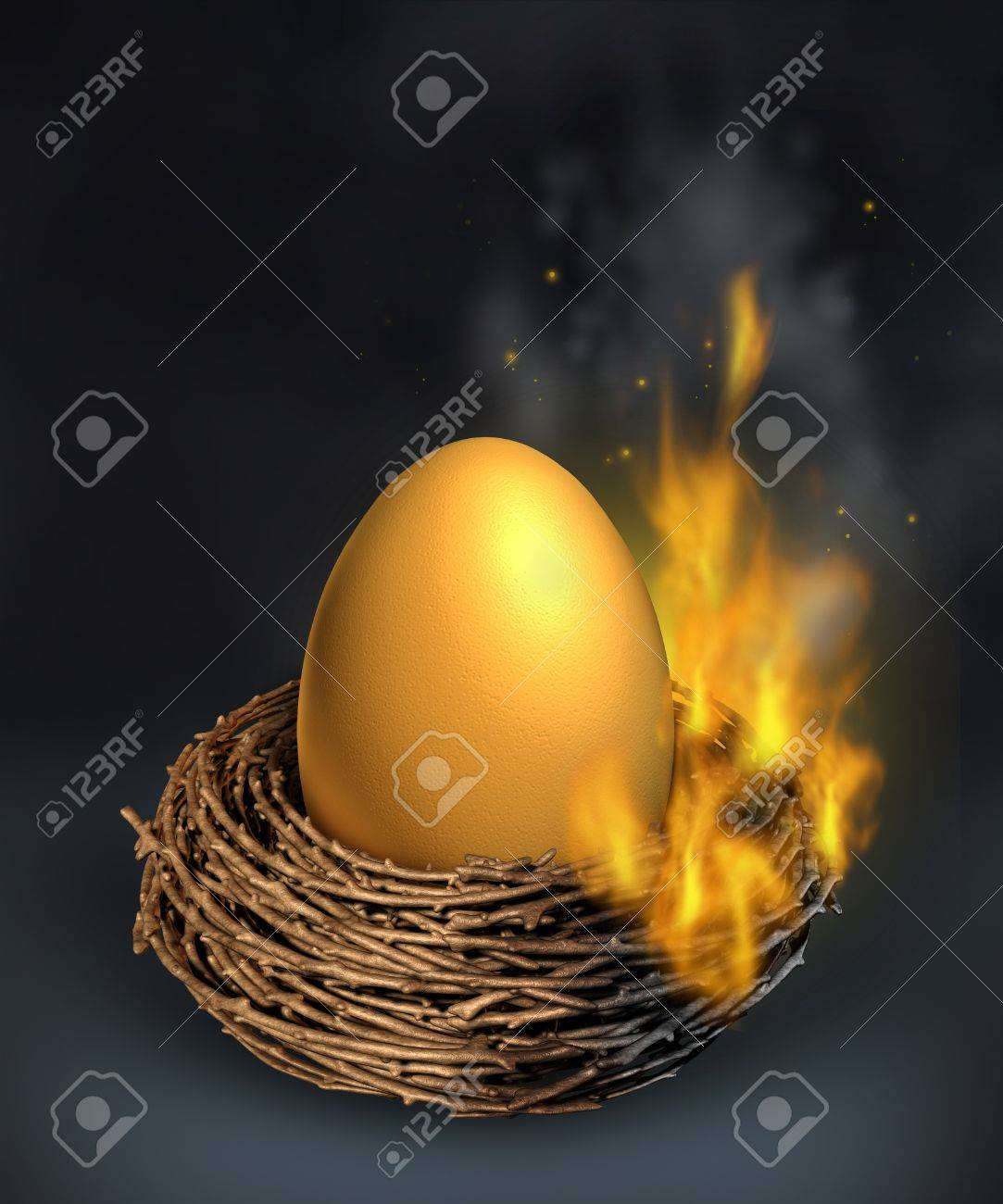 Savings crisis with a burning golden nest egg going up in flames as a financial concept of money despair and challenges managing debt problems due to economic downturn or overspending and going over budget Stock Photo - 15845970
