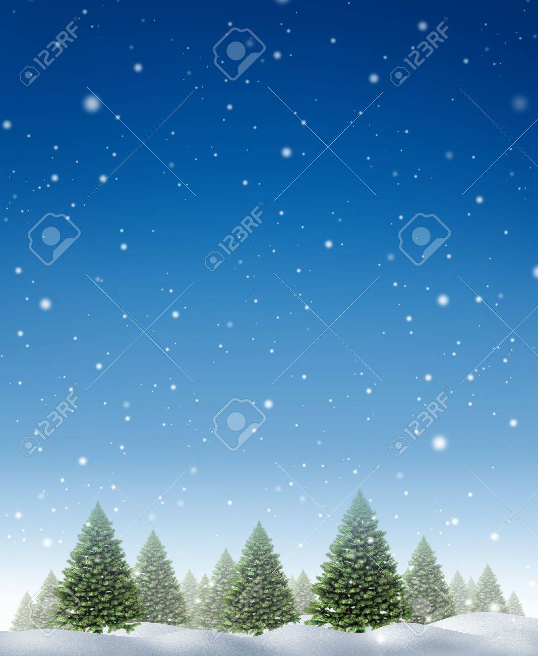 Winter holiday background with a cold forest of pine trees on a snowing blue night fall sky as a design element for the Christmas season and the festive celebration of the time of giving Stock Photo - 15845972