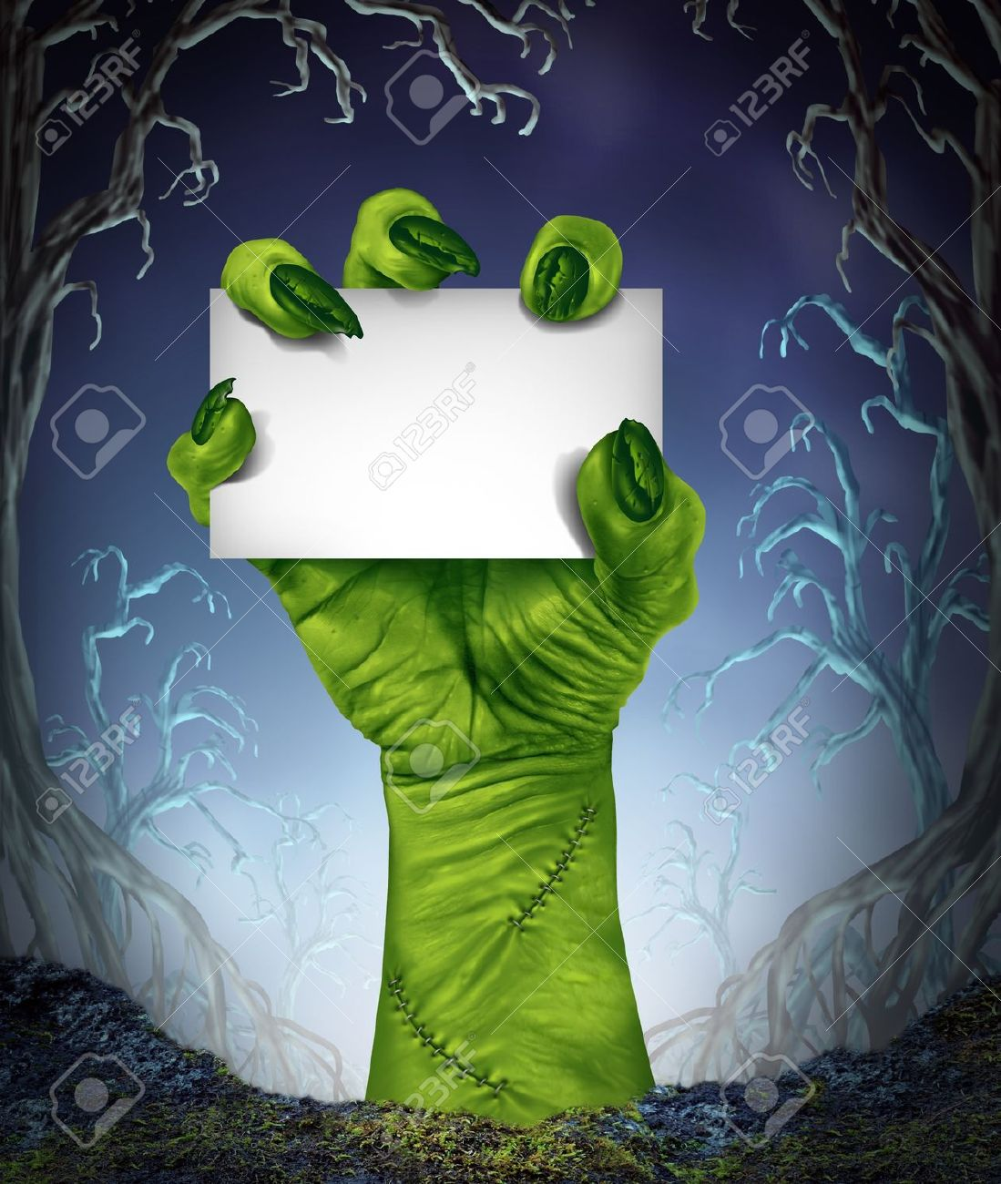 Stock Photo   Zombie Rising Hand Holding A Blank Sign Card As A Spooky  Halloween Or Scary Symbol With Textured Green Skin And Monster Fingers With  Stitches ...