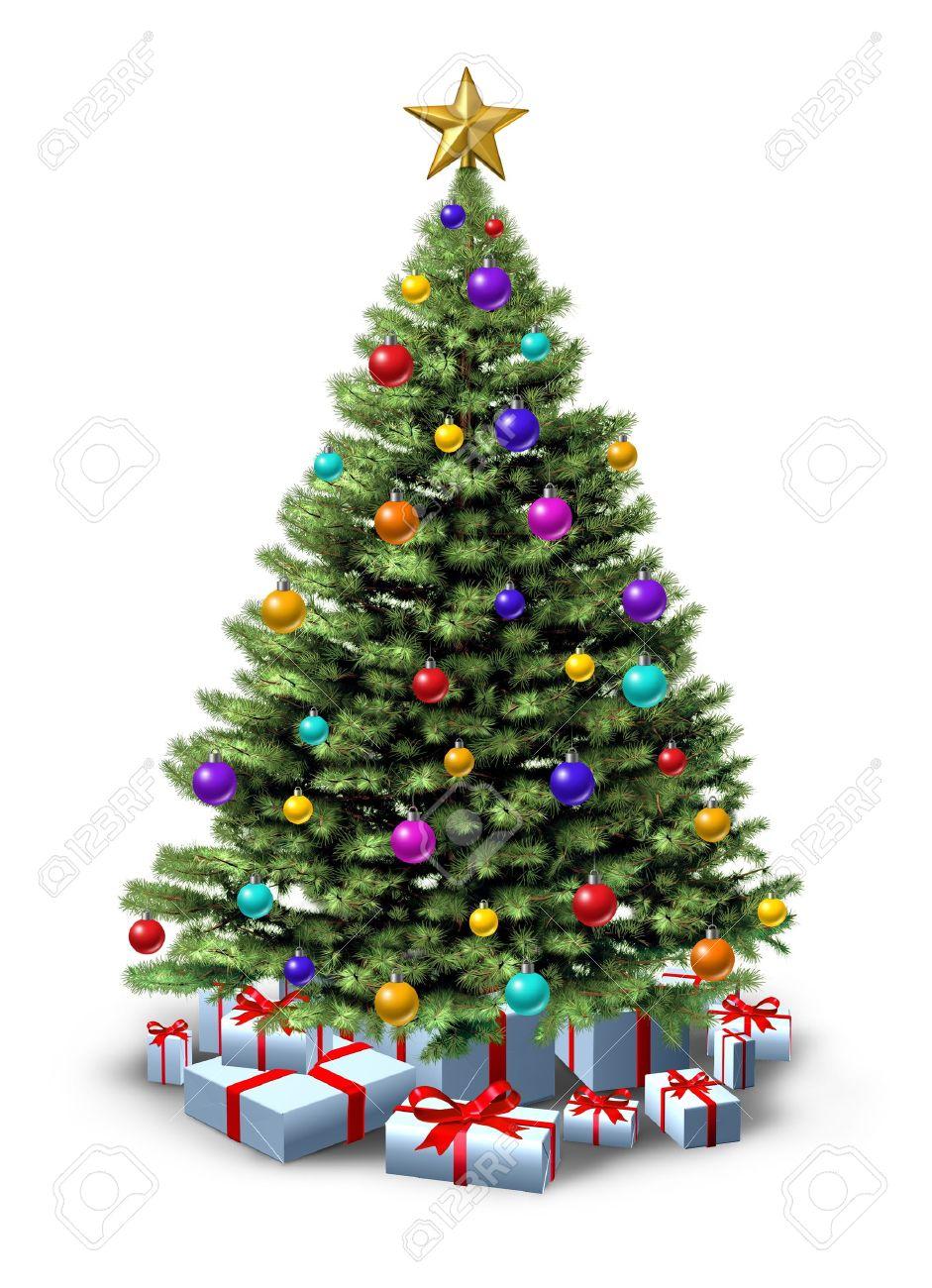 Navidad Decorado rbol De Pino Natural De Bosque Verde Adornado Con
