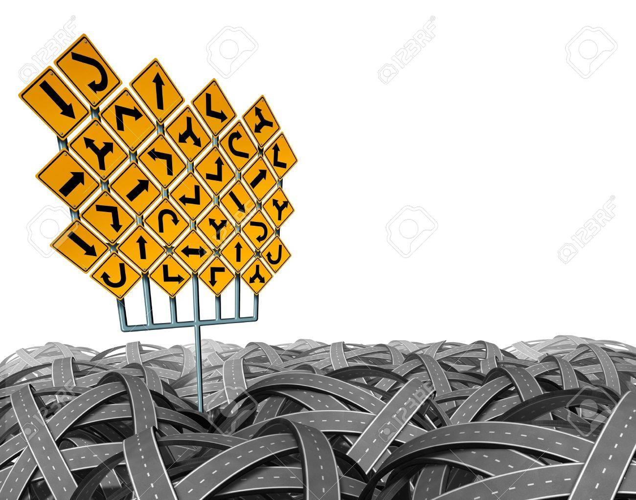 Direction choices choosing the right strategic path for business and life with a large group of yellow traffic signs with confused arrows tangled roads and highways in a chaotic path Stock Photo - 16244896