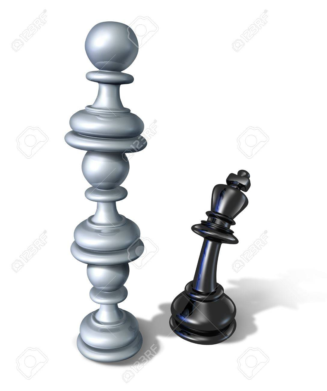 Business team symbol and teaming up to defeat a powerful opponent with three chess pawns stacked one on top of each other Stock Photo - 16375320