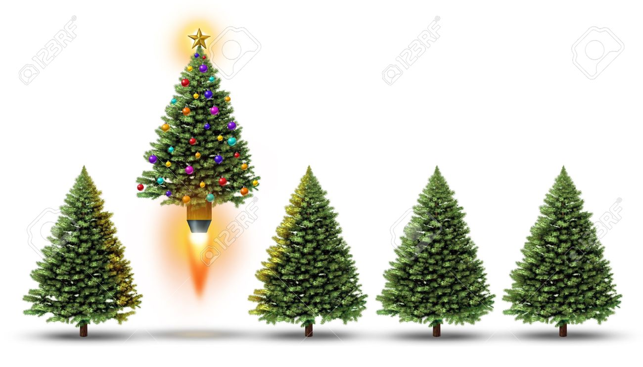 Ornamental evergreen trees - Christmas Party With A Group Of Evergreen Trees And One Fun Decorated Ornamental Pine Blasting Off