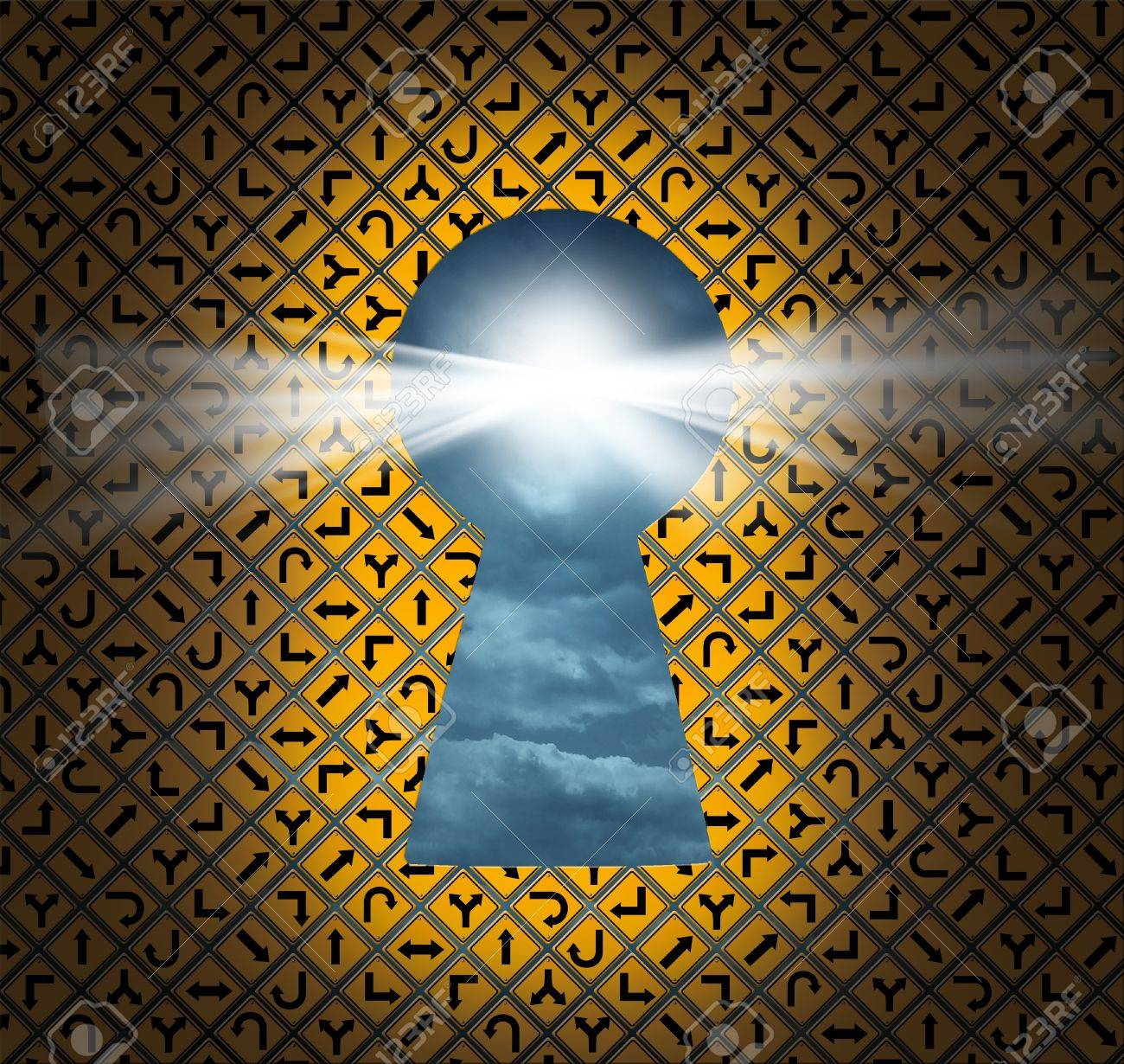 Direction key hole as a solution for success from confusion and chaos with a big group of yellow road Stock Photo - 16375335