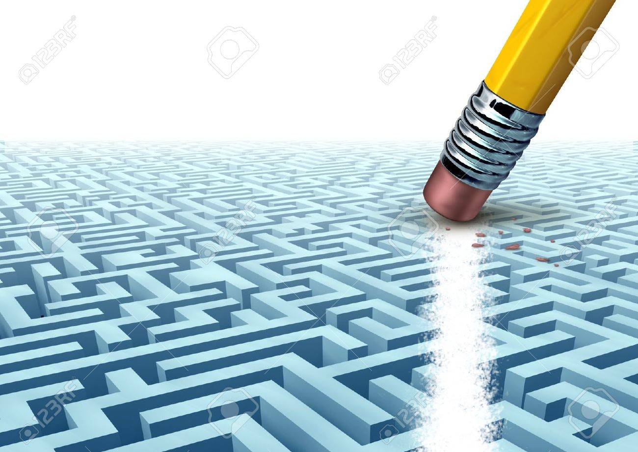 Creative business solutions solving difficult challenges using problem solving skills determination and new ways of thinking for strong management organisation resulting in future financial success with blank area Stock Photo - 16456555