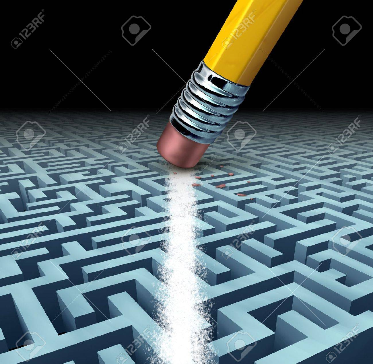 Finding solutions and solving a problem searching the best creative answers against a complicated and complex three dimensional maze having a clear shortcut path created by erasing the labyrinth with a pencil eraser Stock Photo - 16456556