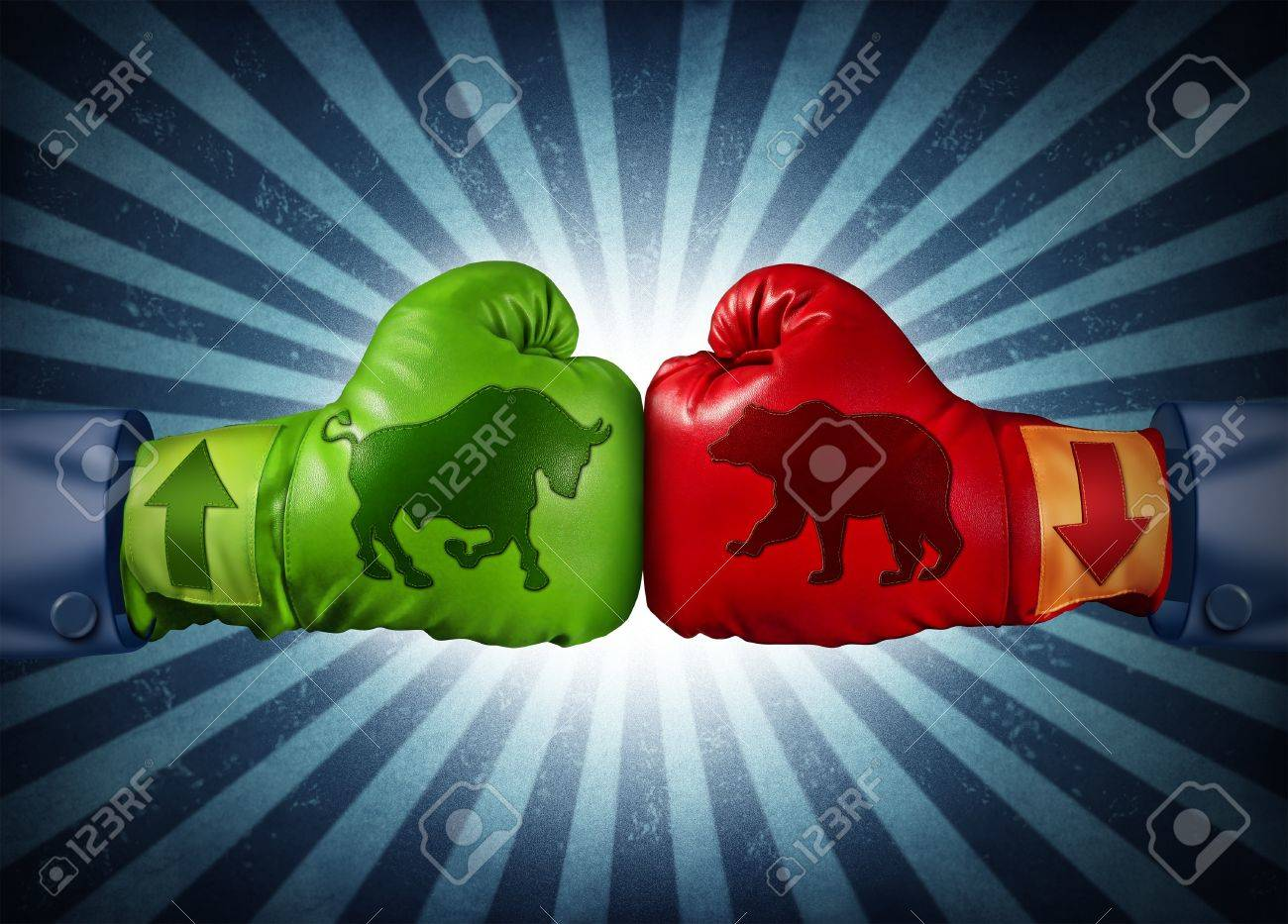 Stock market trading business concept with two boxing gloves stock market trading business concept with two boxing gloves with arrows going up and down with buycottarizona